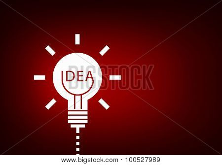 Abstract image with drawn light bulb on red background