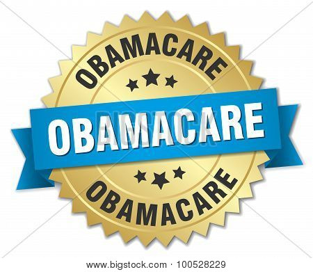 Obamacare 3D Gold Badge With Blue Ribbon