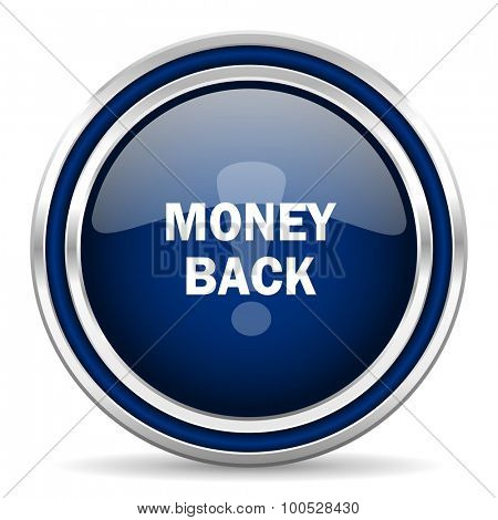 money back blue glossy web icon modern computer design with double metallic silver border on white background with shadow for web and mobile app