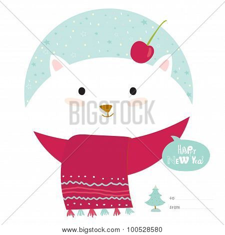 Christmas card with cartoon and funny animals