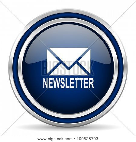 newsletter blue glossy web icon modern computer design with double metallic silver border on white background with shadow for web and mobile app