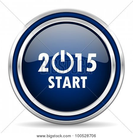 new year 2015 blue glossy web icon modern computer design with double metallic silver border on white background with shadow for web and mobile app