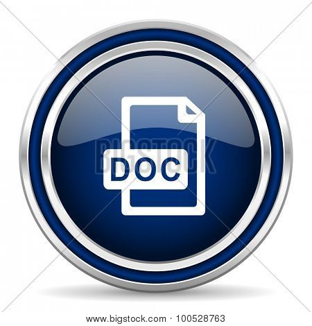 doc file blue glossy web icon modern computer design with double metallic silver border on white background with shadow for web and mobile app