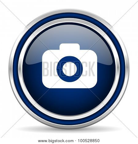 photo camera blue glossy web icon modern computer design with double metallic silver border on white background with shadow for web and mobile app