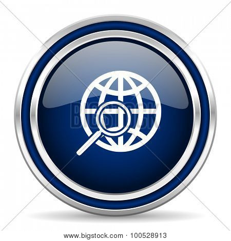 search blue glossy web icon modern computer design with double metallic silver border on white background with shadow for web and mobile app