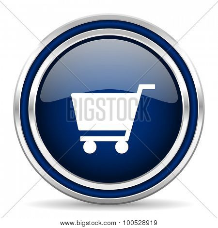 cart blue glossy web icon modern computer design with double metallic silver border on white background with shadow for web and mobile app round internet button for business usage