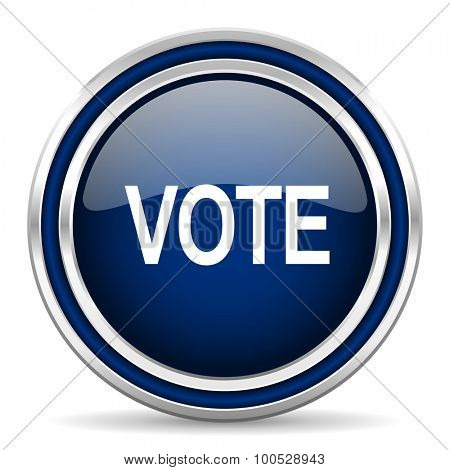 vote blue glossy web icon modern computer design with double metallic silver border on white background with shadow for web and mobile app round internet button for business usage
