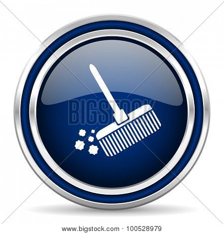 broom blue glossy web icon modern computer design with double metallic silver border on white background with shadow for web and mobile app round internet button for business usage