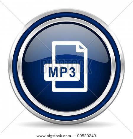mp3 file blue glossy web icon modern computer design with double metallic silver border on white background with shadow for web and mobile app round internet button for business usage