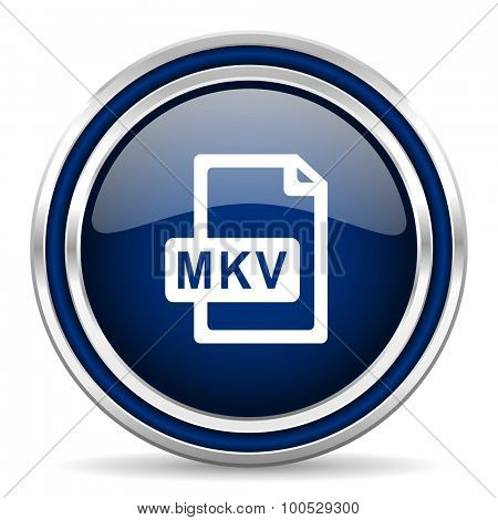 mkv file blue glossy web icon modern computer design with double metallic silver border on white background with shadow for web and mobile app round internet button for business usage