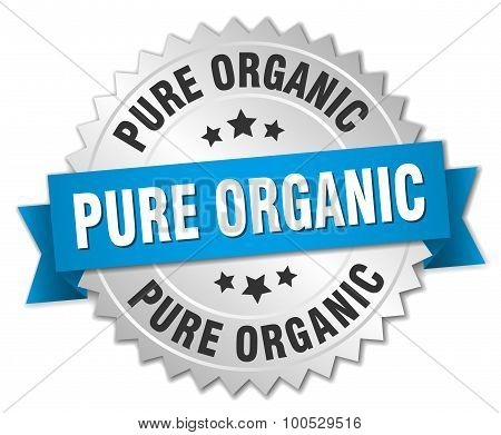 Pure Organic 3D Silver Badge With Blue Ribbon