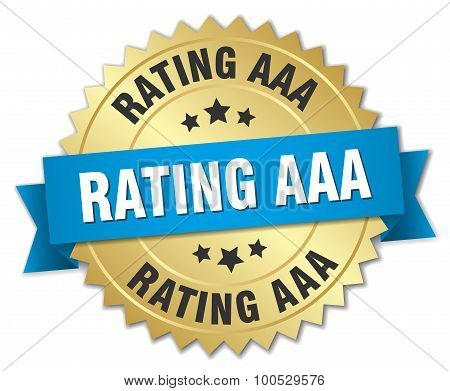 Rating Aaa 3D Gold Badge With Blue Ribbon