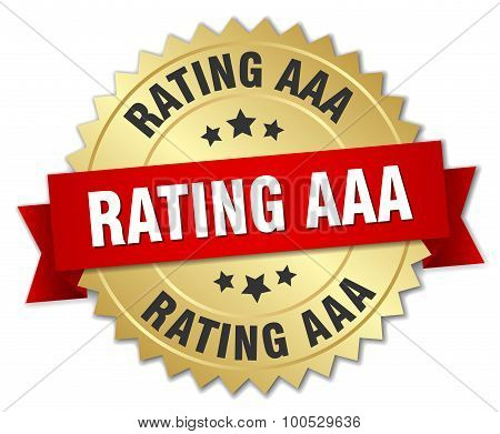 Rating Aaa 3D Gold Badge With Red Ribbon