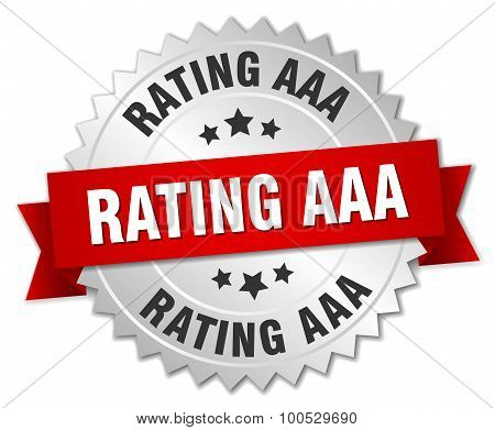 Rating Aaa 3D Silver Badge With Red Ribbon