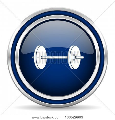 fitness blue glossy web icon modern computer design with double metallic silver border on white background with shadow for web and mobile app round internet button for business usage