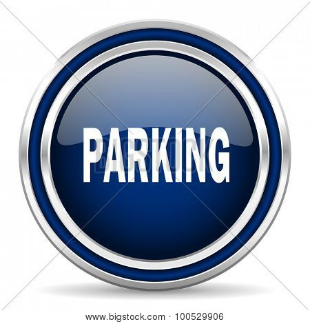 parking blue glossy web icon modern computer design with double metallic silver border on white background with shadow for web and mobile app round internet button for business usage