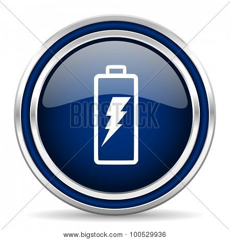 battery blue glossy web icon modern computer design with double metallic silver border on white background with shadow for web and mobile app round internet button for business usage