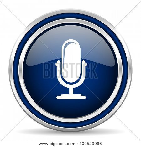 microphone blue glossy web icon modern computer design with double metallic silver border on white background with shadow for web and mobile app round internet button for business usage