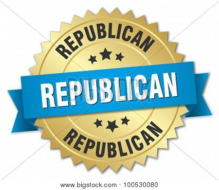 Republican 3D Gold Badge With Blue Ribbon