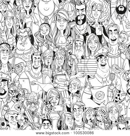 Seamless Pattern From Crowd Of People With Electronic Gadgets Li