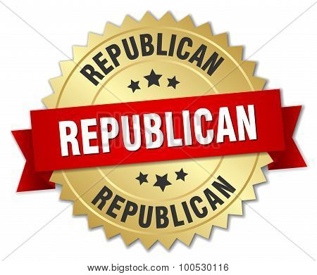 Republican 3D Gold Badge With Red Ribbon