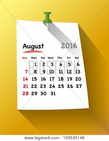Flat Design Calendar For August 2016 On Sticky