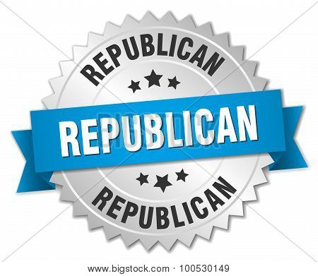 Republican 3D Silver Badge With Blue Ribbon