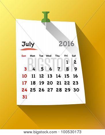 Flat Design Calendar For July 2016 Sticky