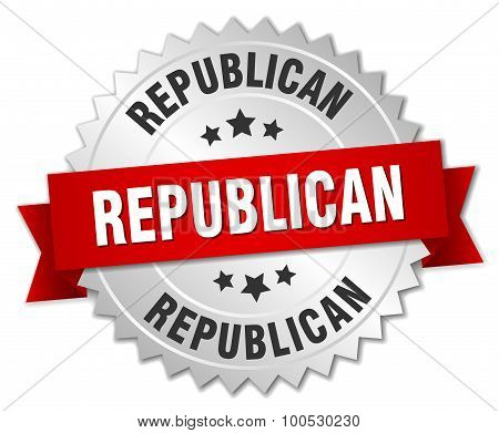 Republican 3D Silver Badge With Red Ribbon