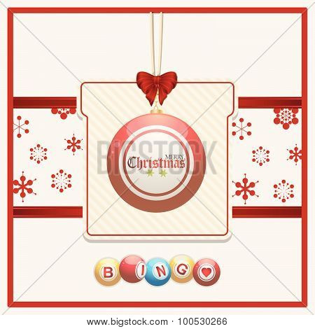 Christmas Bingo Tag On Red And Cream Background