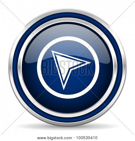 navigation blue glossy web icon modern computer design with double metallic silver border on white background with shadow for web and mobile app round internet button for business usage