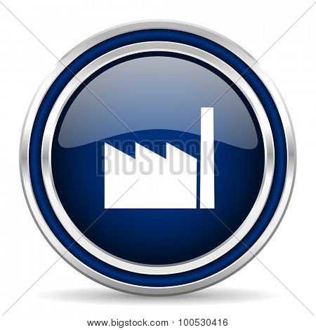 factory blue glossy web icon modern computer design with double metallic silver border on white background with shadow for web and mobile app round internet button for business usage