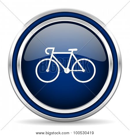bicycle blue glossy web icon modern computer design with double metallic silver border on white background with shadow for web and mobile app round internet button for business usage