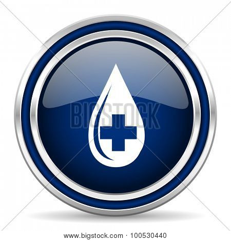 blood blue glossy web icon modern computer design with double metallic silver border on white background with shadow for web and mobile app round internet button for business usage