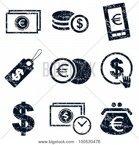 Currency icons set, grunge