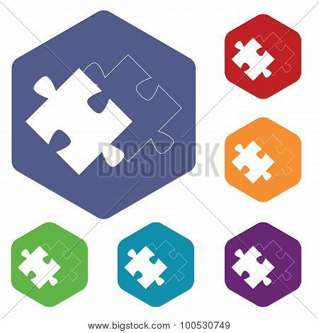 Matching puzzle icon, hexagon set