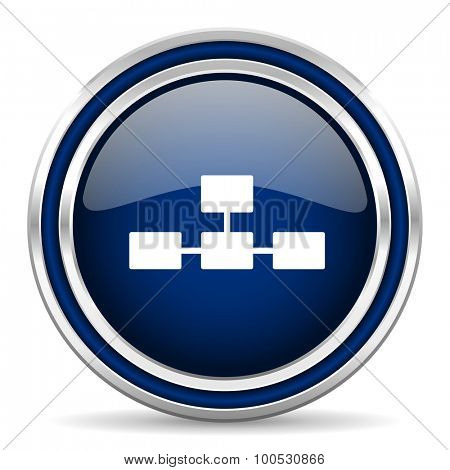 database blue glossy web icon modern computer design with double metallic silver border on white background with shadow for web and mobile app round internet button for business usage