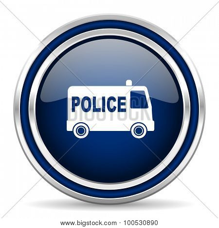 police blue glossy web icon modern computer design with double metallic silver border on white background with shadow for web and mobile app round internet button for business usage