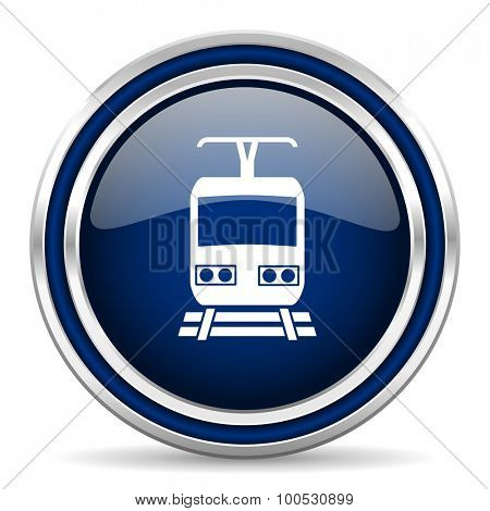 train blue glossy web icon modern computer design with double metallic silver border on white background with shadow for web and mobile app round internet button for business usage
