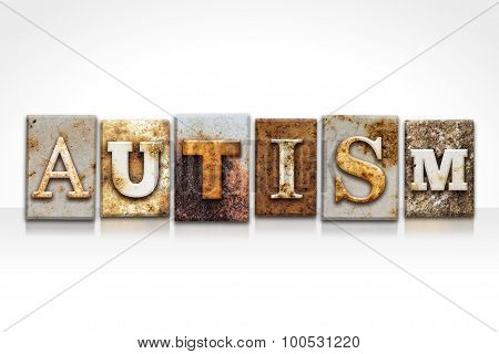 Autism Letterpress Concept Isolated On White