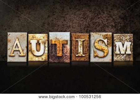 Autism Letterpress Concept On Dark Background