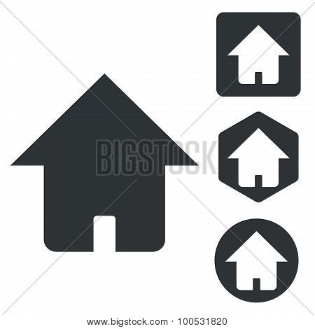 Home icon set, monochrome
