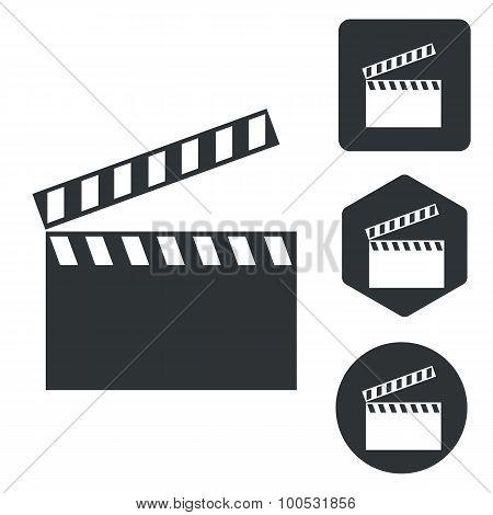 Clapperboard icon set, monochrome