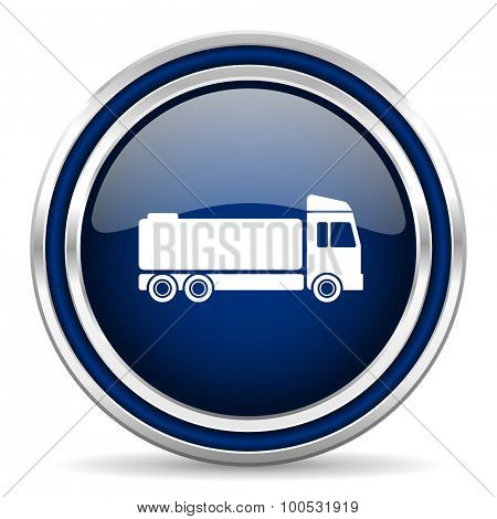 truck blue glossy web icon modern computer design with double metallic silver border on white background with shadow for web and mobile app round internet button for business usage