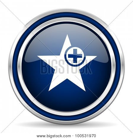 star blue glossy web icon modern computer design with double metallic silver border on white background with shadow for web and mobile app round internet button for business usage