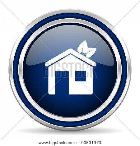 house blue glossy web icon modern computer design with double metallic silver border on white background with shadow for web and mobile app round internet button for business usage