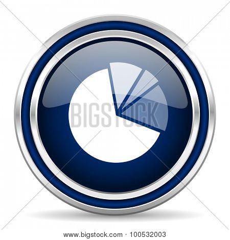 diagram blue glossy web icon modern computer design with double metallic silver border on white background with shadow for web and mobile app round internet button for business usage