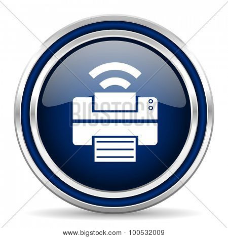printer blue glossy web icon modern computer design with double metallic silver border on white background with shadow for web and mobile app round internet button for business usage