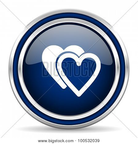 love blue glossy web icon modern computer design with double metallic silver border on white background with shadow for web and mobile app round internet button for business usage