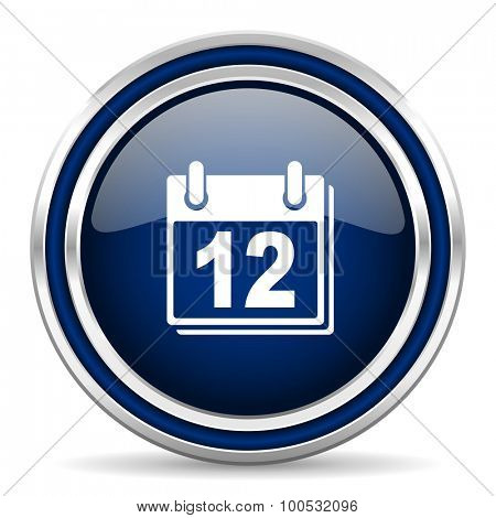 calendar blue glossy web icon modern computer design with double metallic silver border on white background with shadow for web and mobile app round internet button for business usage